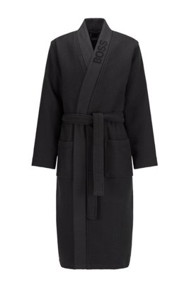 Jacquard-logo dressing gown in waffle piqué, Black