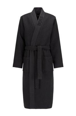 Peignoir en piqué gaufré, avec logo jacquard, Noir