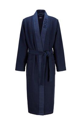 Jacquard-logo dressing gown in waffle piqué, Dark Blue