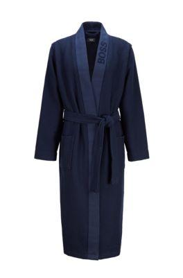 Peignoir en piqué gaufré, avec logo jacquard, Bleu foncé