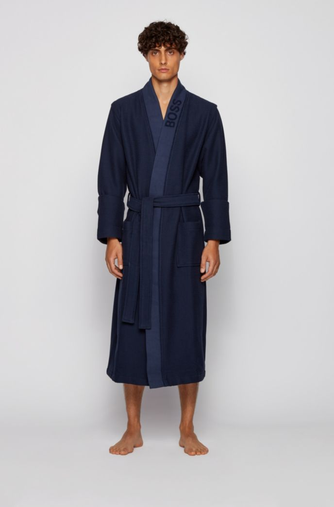 Jacquard-logo dressing gown in waffle piqué