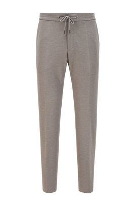 Slim-fit trousers in stretch fabric with drawstring waist, Grey