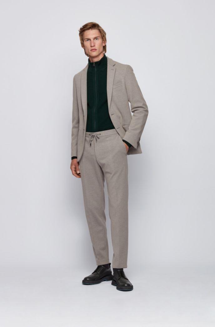 Slim-fit broek van stretchmateriaal met tailleband met trekkoord