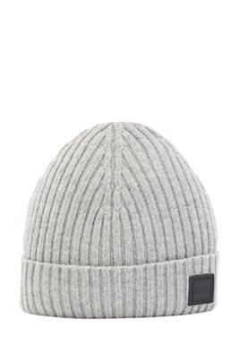 Wool-blend beanie hat with ribbed structure, Grey