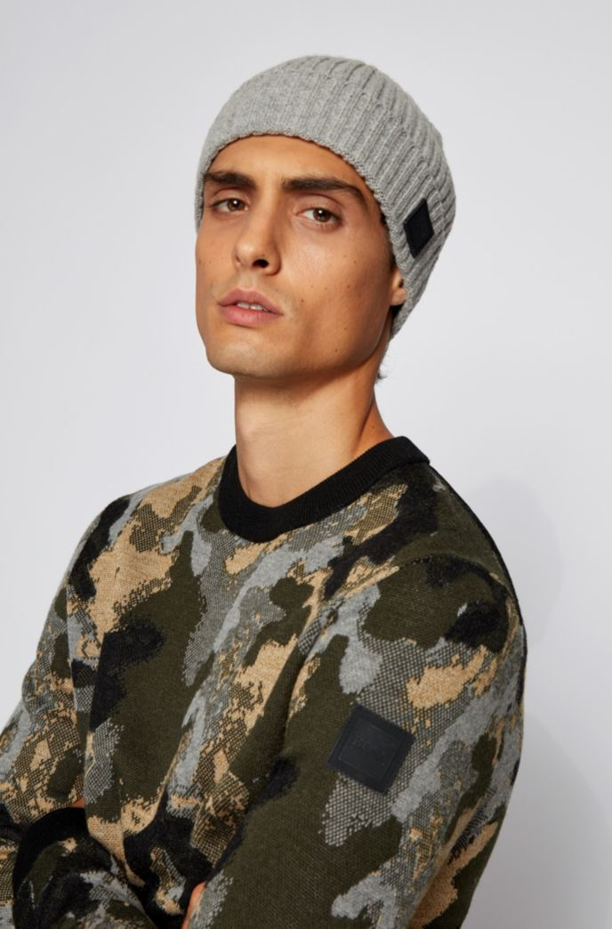 Wool-blend beanie hat with ribbed structure