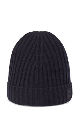 Wool-blend beanie hat with ribbed structure, Dark Blue