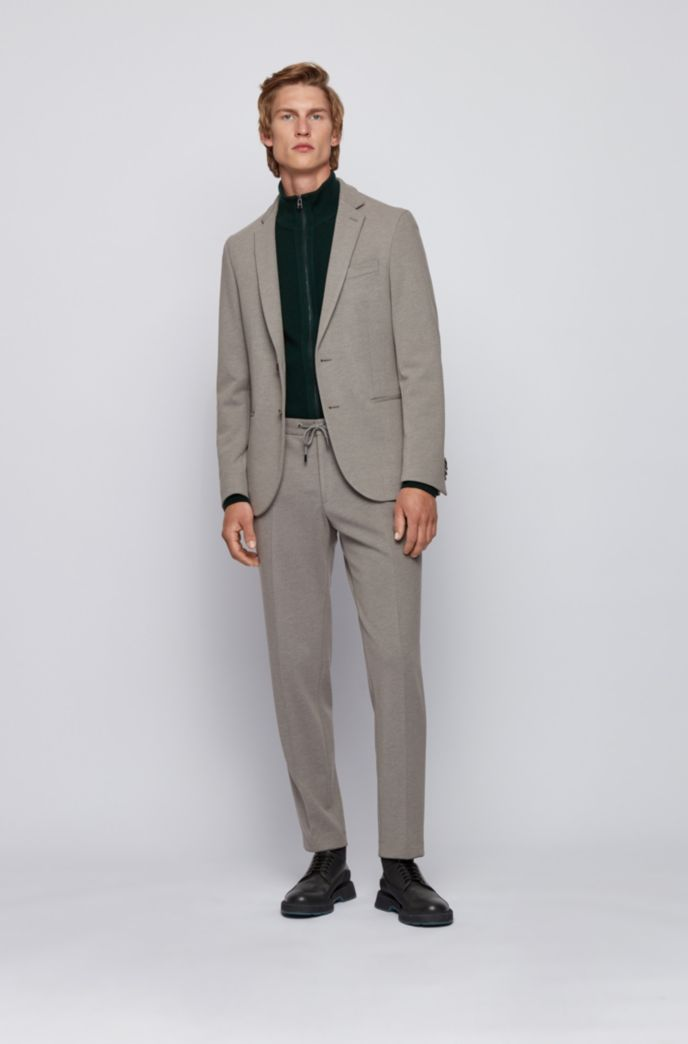 Slim-fit jacket in structured jersey