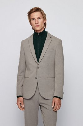 Slim-fit jacket in structured jersey, Grey