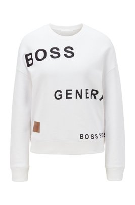 Relaxed-fit sweatshirt with collection-themed prints, White