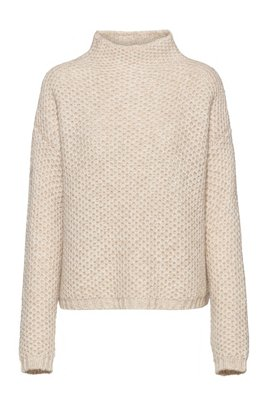 Relaxed-fit structured sweater with funnel neck, White