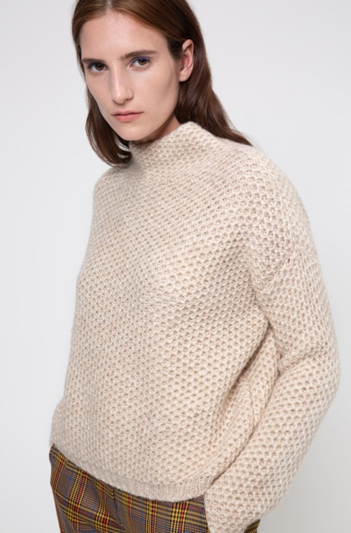 Relaxed-fit structured sweater with funnel neck
