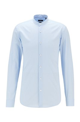 Slim-fit shirt in a cotton blend with stand collar, Light Blue