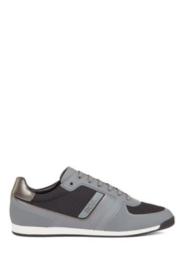 Low-profile trainers with mesh and thermo-bonded details, Grey