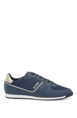Low-profile trainers with mesh and thermo-bonded details, Dark Blue
