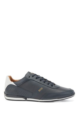 Low-top trainers in nappa leather with lasered perforations, Dark Blue