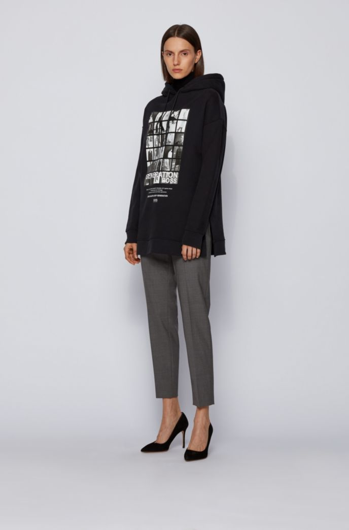 Cotton-blend hooded sweatshirt with collection-themed print