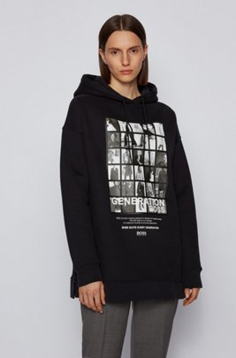 Cotton-blend hooded sweatshirt with collection-themed print, Black