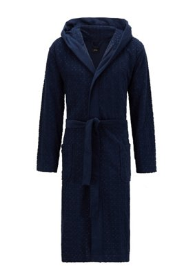 Jacquard logo dressing gown in cotton-blend terry, Dark Blue