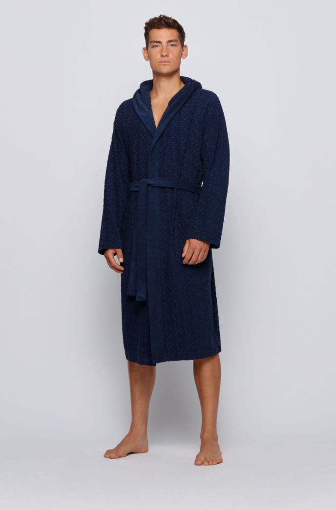 Jacquard logo dressing gown in cotton-blend terry