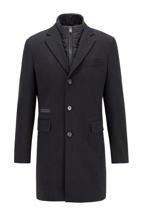 Wool-blend coat with detachable zip-through inner, Light Grey