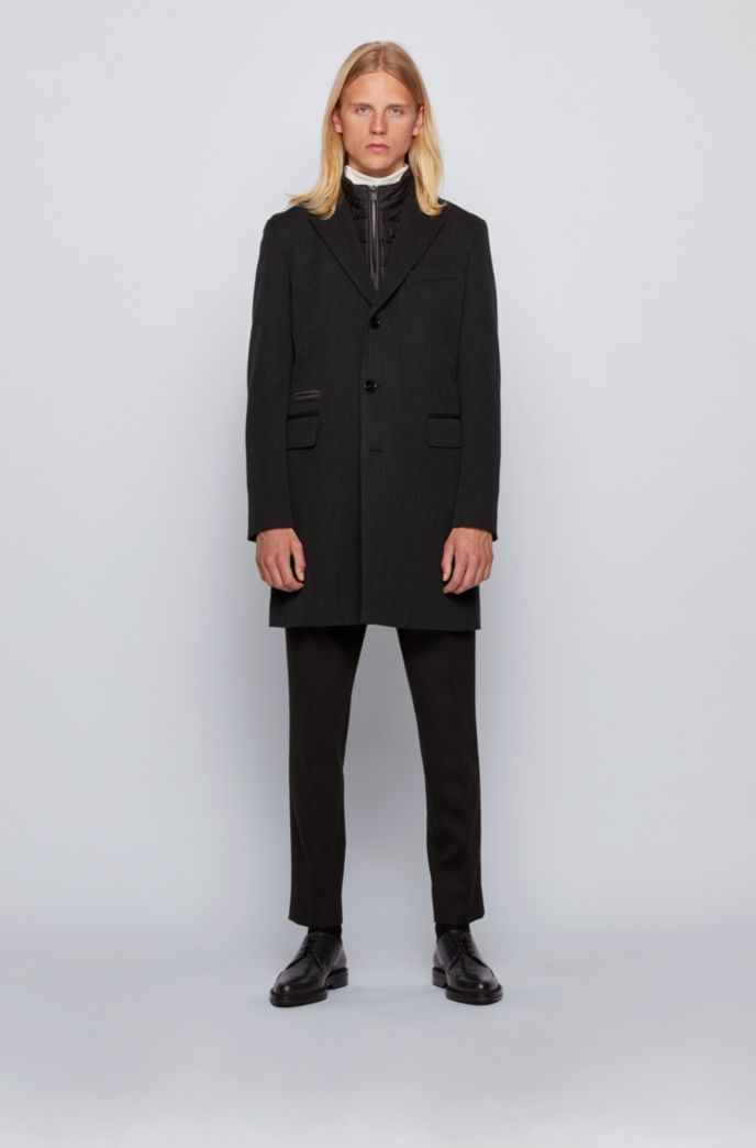 Wool-blend coat with detachable zip-through inner
