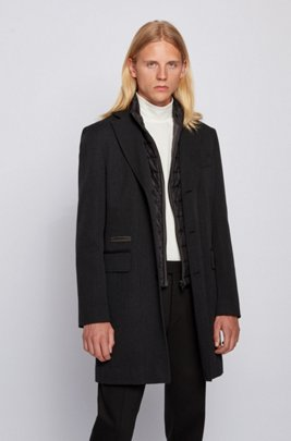 Wool-blend coat with detachable zip-through inner, Light Grey