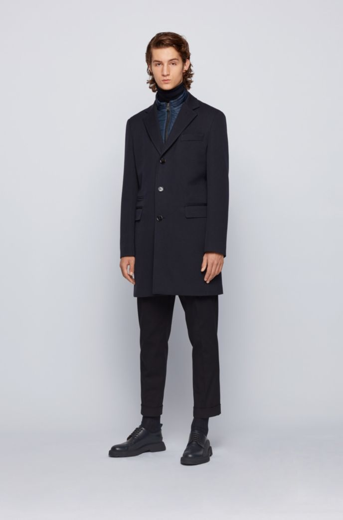 Wool-blend coat with detachable zip-through inner