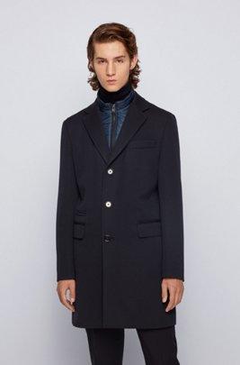 Manteau en laine mélangée avec empiècement intérieur zippé amovible, Bleu foncé
