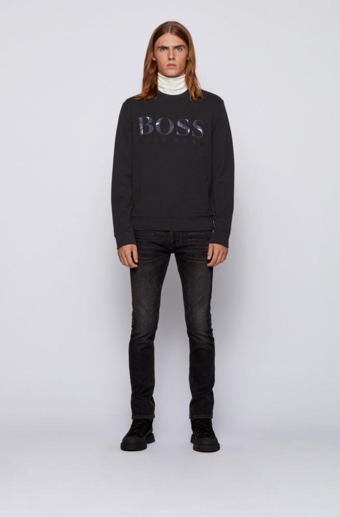 Sweater van sweatstof met logo met printdetail