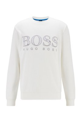 French-terry sweatshirt with print-detail logo, White