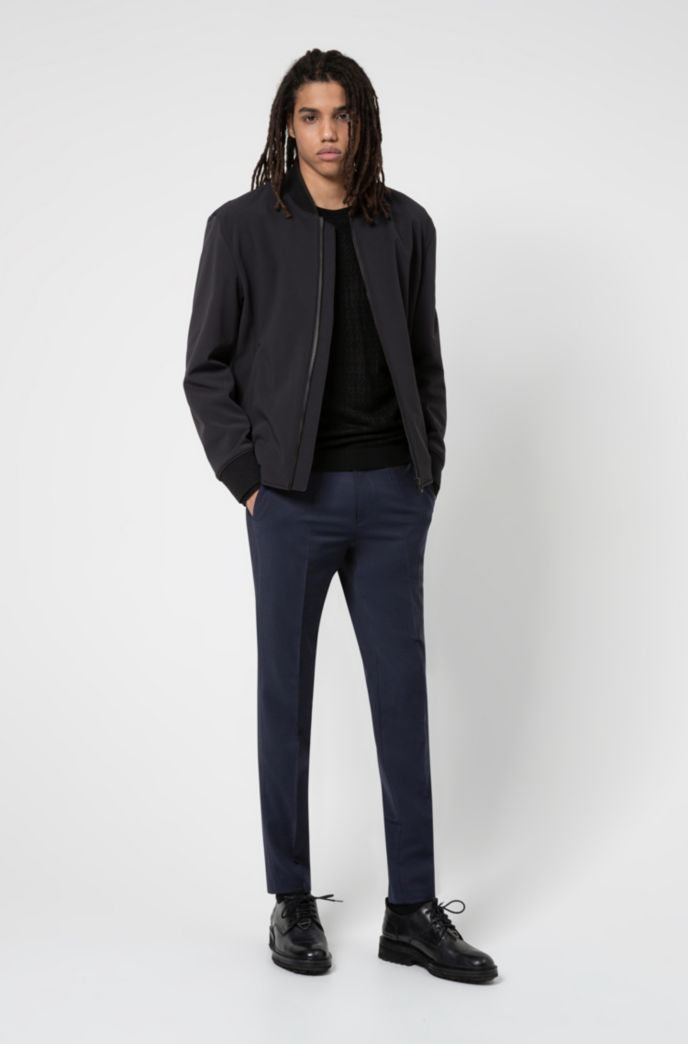 Slim-fit bomber jacket with stand collar