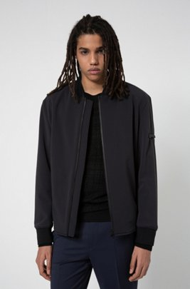 Slim-fit bomber jacket with stand collar , Black