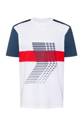 T-shirt unisex in jersey di cotone con grafica ispirata al tema della collezione, Bianco