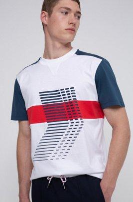 T-shirt mixte en jersey de coton à imprimés graphiques emblématiques de la collection, Blanc
