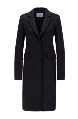 Manteau habillé en laine vierge italienne à teneur en cachemire, Noir