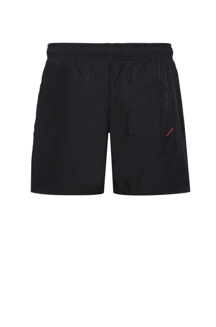 Quick-dry swim shorts with foil-print logo
