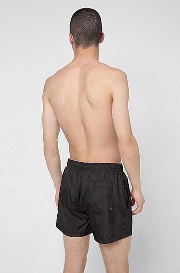 烫金徽标速干游泳短裤,  001_Black