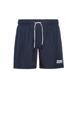 Quick-dry swim shorts with foil-print logo, Dark Blue