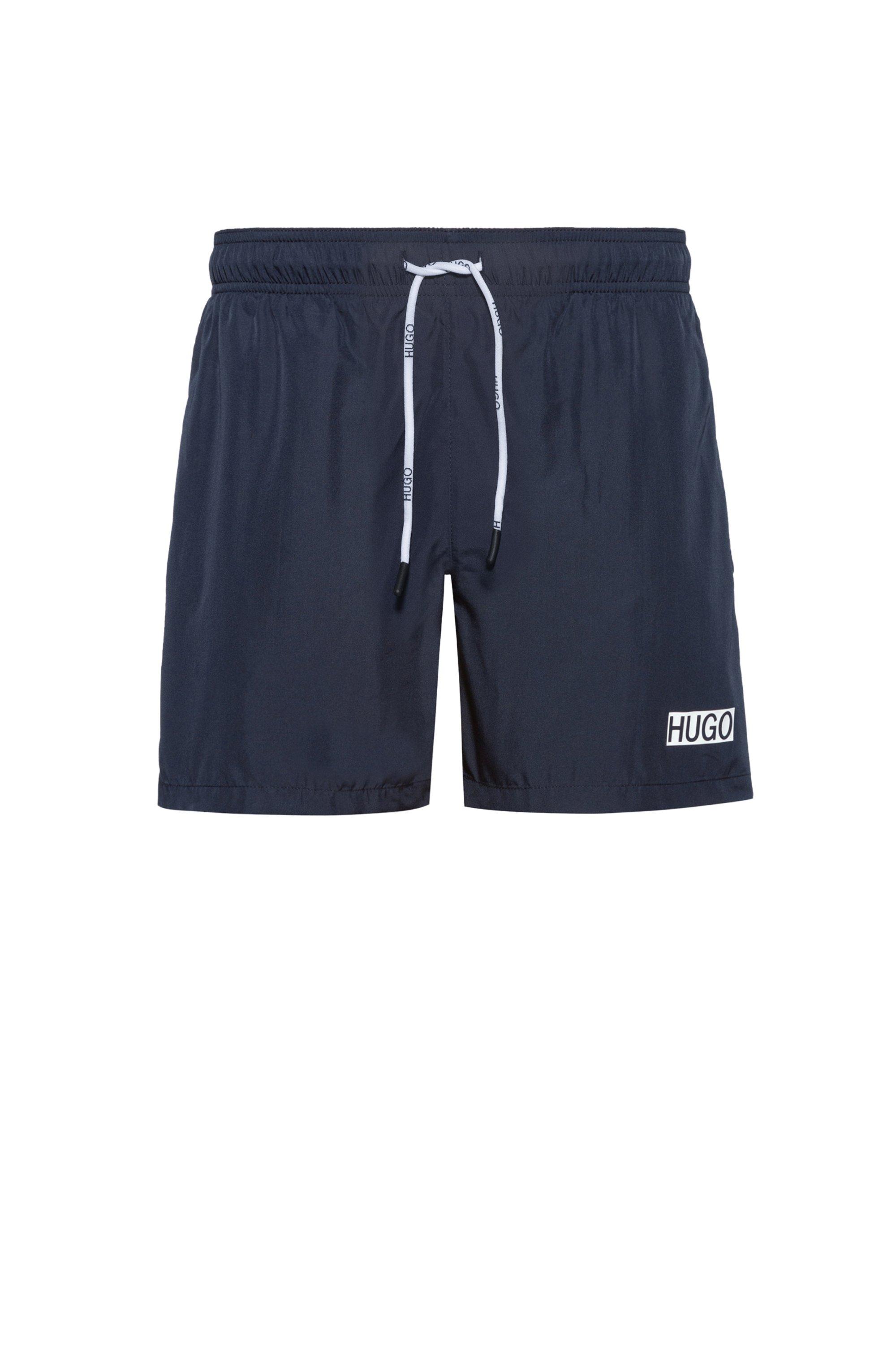 Quick-dry swim shorts with foil-print logo, Dark Blue