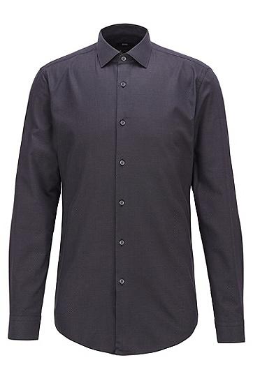 微点弹力斜纹超修身衬衫,  002_黑色