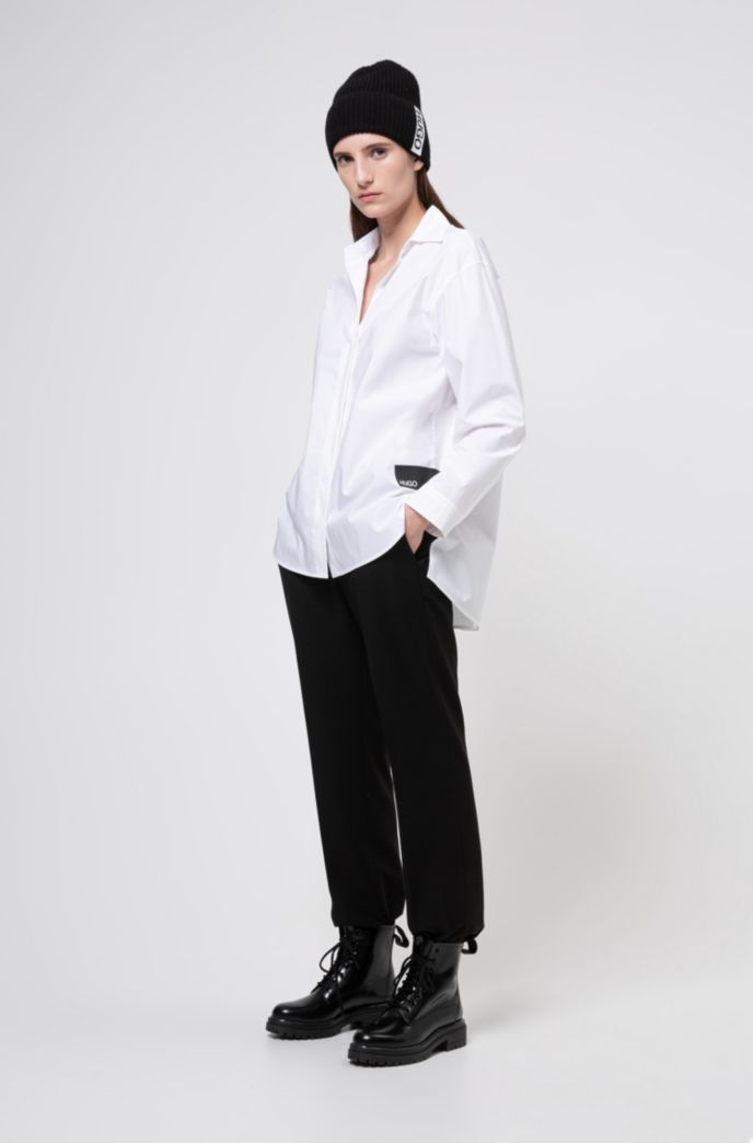 Stretch-cotton oversized-fit blouse with logo trims