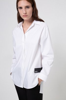 Stretch-cotton oversized-fit blouse with logo trims, Patterned