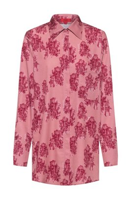 Relaxed-fit blouse in toile-printed crepe, Patterned