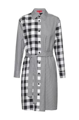 Relaxed-fit shirt dress with mixed checks, Patterned