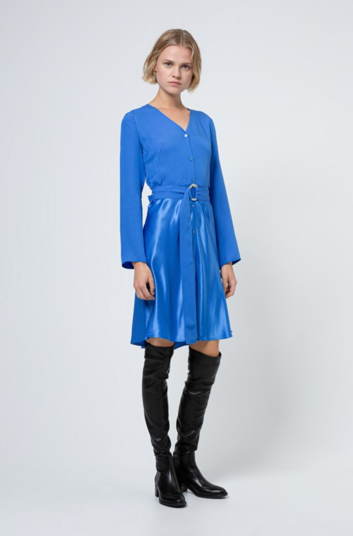 Belted button-through dress in mixed fabrics