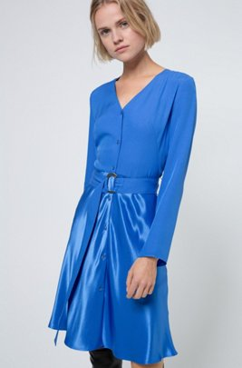 Belted button-through dress in mixed fabrics, Blue