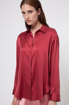 Stretch-silk oversized-fit blouse with concealed buttons, Light Red