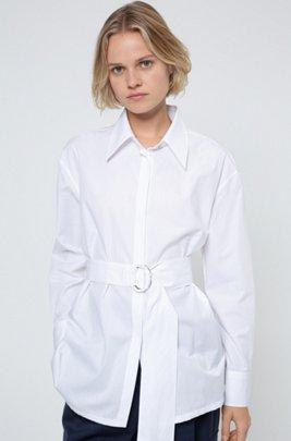 Chemisier Relaxed Fit en coton avec ceinture en tissu, Blanc