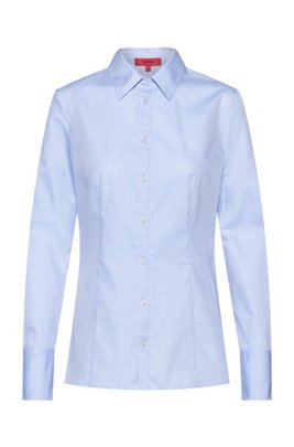 Slim-fit blouse in cotton with point collar, Light Blue