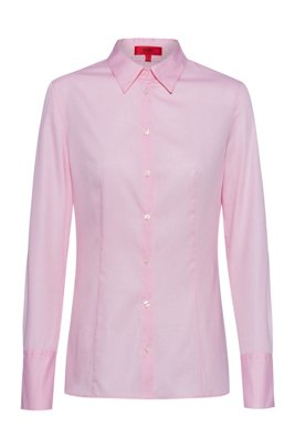 Slim-fit blouse in cotton with point collar, light pink